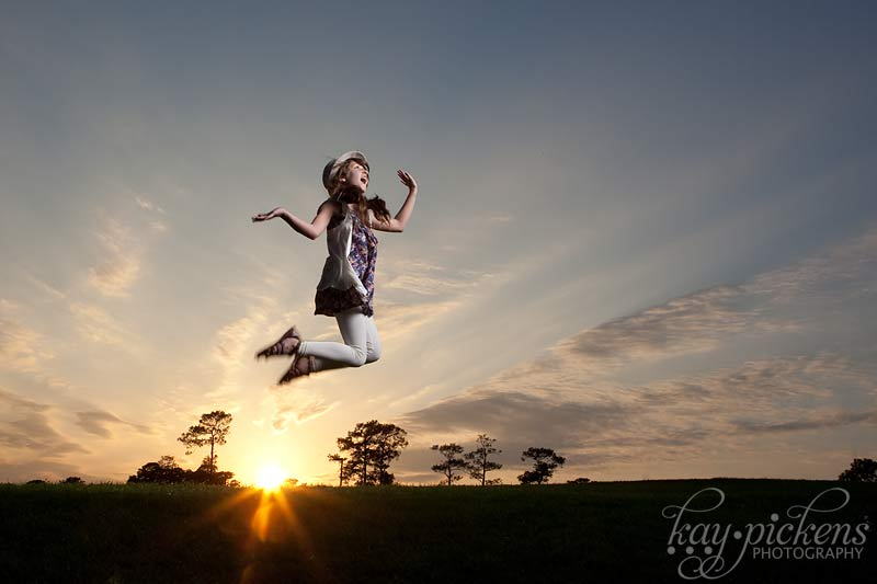 sunset jumping shot
