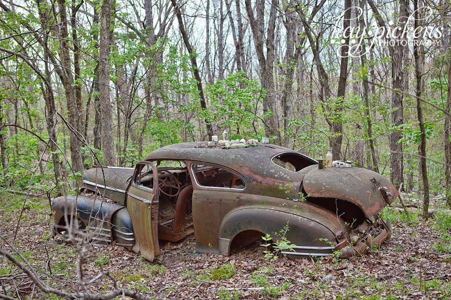 abandoned chevy fleetline in the woods
