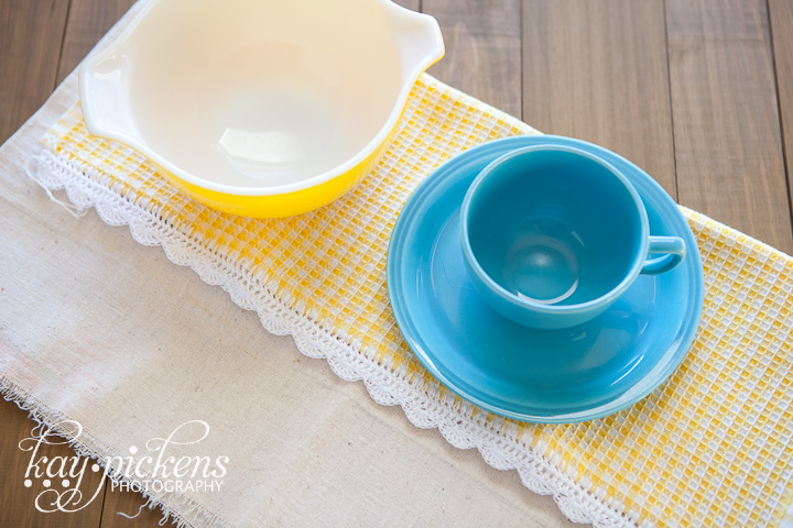 cute yellow pyrex bowl and teal coffee cup