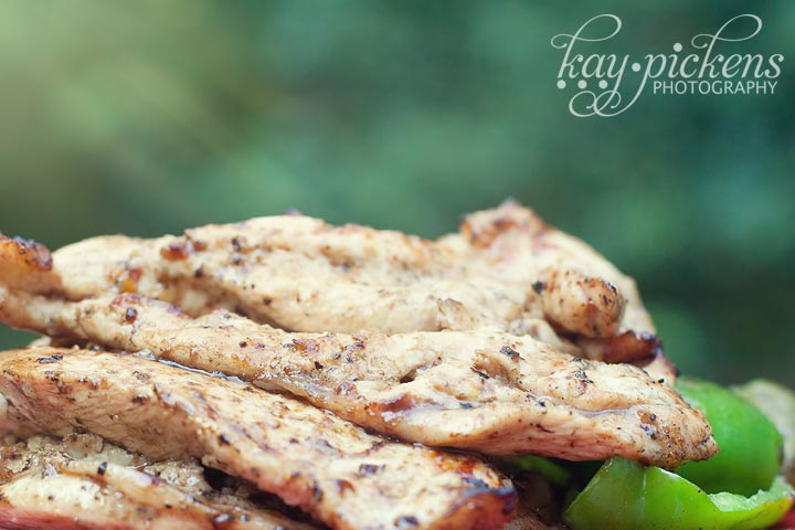 barbecued chicken and green peppers