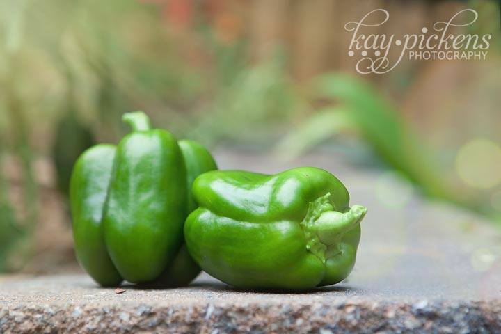 green peppers with bokeh applied